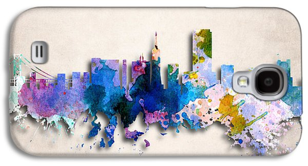 Downtown San Francisco Galaxy S4 Cases - San Francisco Painted City Skyline Galaxy S4 Case by World Art Prints And Designs