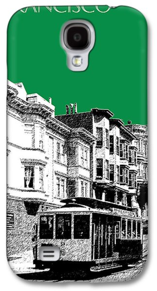 Mid-century Modern Decor Digital Galaxy S4 Cases - San Francisco Skyline Cable Car 2 - Forest Green Galaxy S4 Case by DB Artist