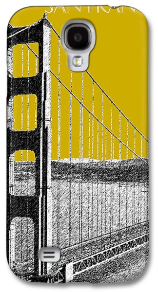 Pencil Digital Galaxy S4 Cases - San Francisco Skyline Golden Gate Bridge 1 - Gold Galaxy S4 Case by DB Artist