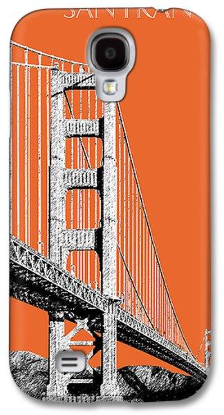 Office Decor Digital Galaxy S4 Cases - San Francisco Skyline Golden Gate Bridge 2 - Coral Galaxy S4 Case by DB Artist