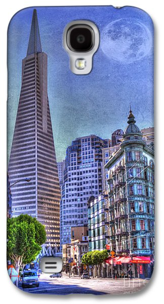 Architectural Galaxy S4 Cases - San Francisco Transamerica Pyramid and Columbus Tower view From North Beach Galaxy S4 Case by Juli Scalzi