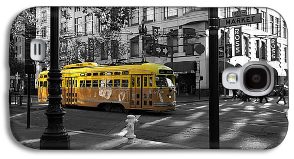 Wingsdomain Galaxy S4 Cases - San Francisco Vintage Streetcar on Market Street - 5D19798 - Black and White and Yellow Galaxy S4 Case by Wingsdomain Art and Photography