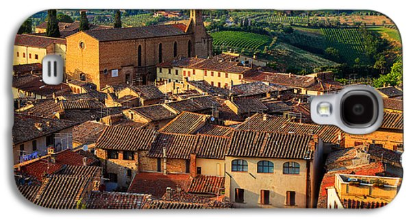 Tuscan Hills Galaxy S4 Cases - San Gimignano from Above Galaxy S4 Case by Inge Johnsson