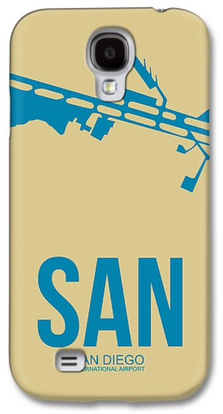 Town Mixed Media Galaxy S4 Cases - SAN San Diego Airport Poster 3 Galaxy S4 Case by Naxart Studio