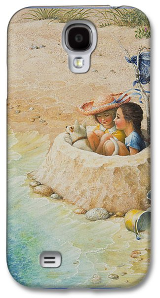 Sand Castles Paintings Galaxy S4 Cases - Sand Castle Galaxy S4 Case by Lynn Bywaters