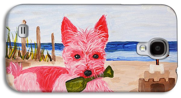 Sand Castles Paintings Galaxy S4 Cases - Sand Castle Pink Pampered Pooch Galaxy S4 Case by Christine  Dekkers