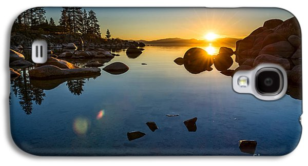 Water Reflections Galaxy S4 Cases - Sand Harbor Sunset Galaxy S4 Case by Jamie Pham