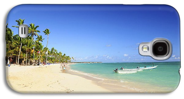 Getaway Galaxy S4 Cases - Sandy beach on Caribbean resort  Galaxy S4 Case by Elena Elisseeva