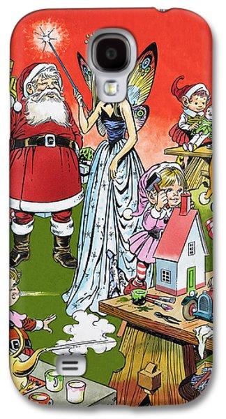 Santa Claus Paintings Galaxy S4 Cases - Santa Claus Toy Factory Galaxy S4 Case by Jesus Blasco