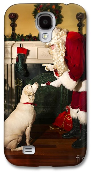 Concept Photographs Galaxy S4 Cases - Santa Giving the Dog a Gift Galaxy S4 Case by Diane Diederich