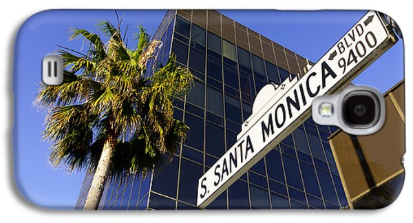 Upscale Galaxy S4 Cases - Santa Monica Blvd Sign in Beverly Hills California Galaxy S4 Case by Paul Velgos