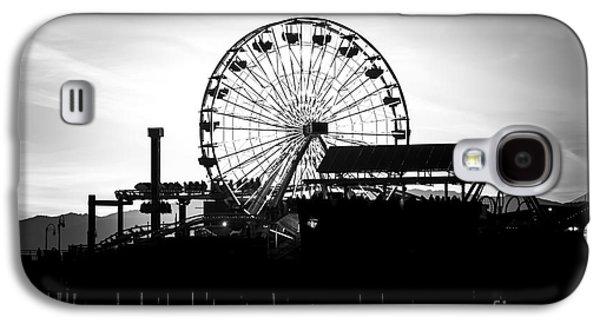 Santa Monica Ferris Wheel Black And White Photo Galaxy S4 Case by Paul Velgos