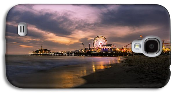 California Tourist Spots Galaxy S4 Cases - Santa Monica Pier Blue Hour Galaxy S4 Case by Jerome Obille