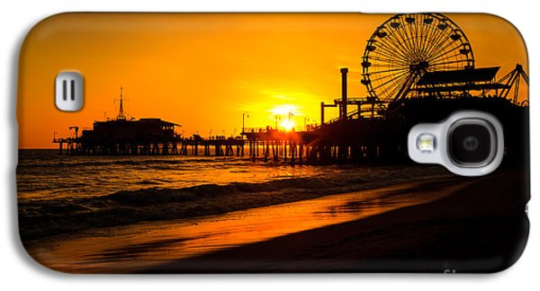 Tourism Galaxy S4 Cases - Santa Monica Pier California Sunset Photo Galaxy S4 Case by Paul Velgos