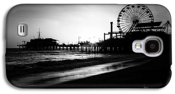 Monica Galaxy S4 Cases - Santa Monica Pier in Black and White Galaxy S4 Case by Paul Velgos