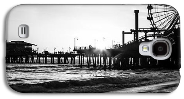 Pacific Ocean Prints Galaxy S4 Cases - Santa Monica Pier Panorama Black and White Photo Galaxy S4 Case by Paul Velgos