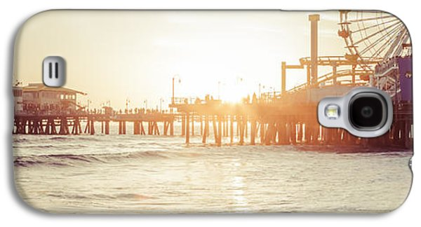 Water Filter Galaxy S4 Cases - Santa Monica Pier Retro Sunset Panorama Photo Galaxy S4 Case by Paul Velgos