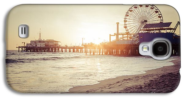 Santa Monica Pier Retro Sunset Picture Galaxy S4 Case by Paul Velgos
