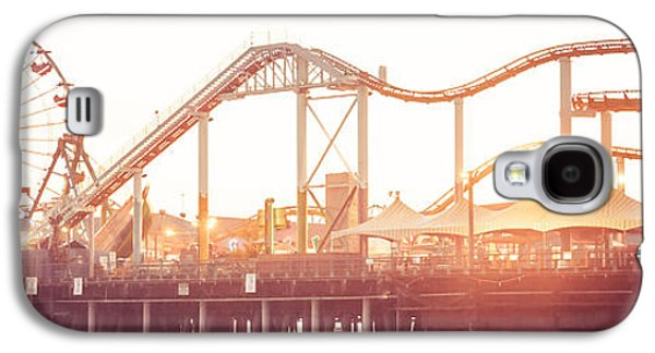Sun Galaxy S4 Cases - Santa Monica Pier Roller Coaster Panorama Photo Galaxy S4 Case by Paul Velgos