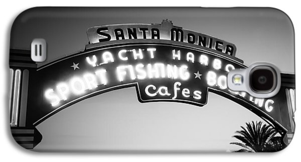 Monica Galaxy S4 Cases - Santa Monica Pier Sign in Black and White Galaxy S4 Case by Paul Velgos