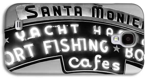 Monica Galaxy S4 Cases - Santa Monica Pier Sign Panoramic Black and White Photo Galaxy S4 Case by Paul Velgos