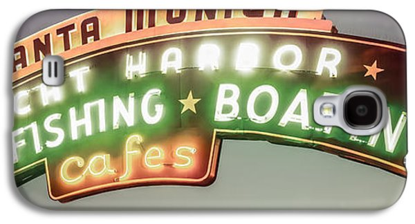 Monica Galaxy S4 Cases - Santa Monica Pier Sign Vintage Panoramic Photo Galaxy S4 Case by Paul Velgos