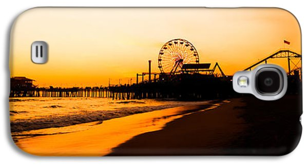 Pacific Ocean Prints Galaxy S4 Cases - Santa Monica Pier Sunset Panorama Picture Galaxy S4 Case by Paul Velgos