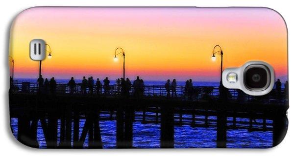 A Summer Evening Landscape Galaxy S4 Cases - Santa Monica Pier Sunset Silhouettes Galaxy S4 Case by Lynn Bauer