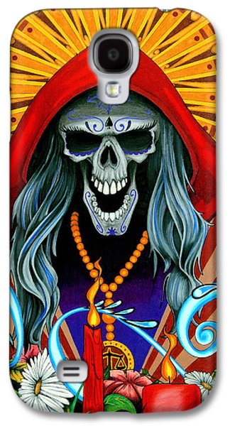 Trippy Drawings Galaxy S4 Cases - Santa Muerte Galaxy S4 Case by Steve Hartwell