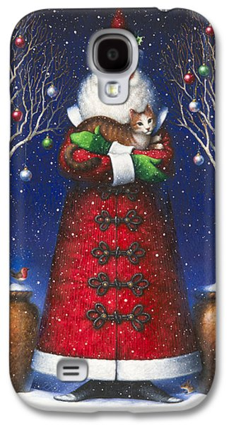Santa Claus Paintings Galaxy S4 Cases - Santas Cat Galaxy S4 Case by Lynn Bywaters