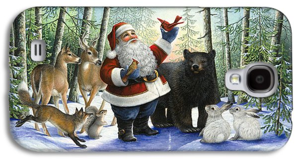 Fox Squirrel Galaxy S4 Cases - Santas Christmas Morning Galaxy S4 Case by Lynn Bywaters