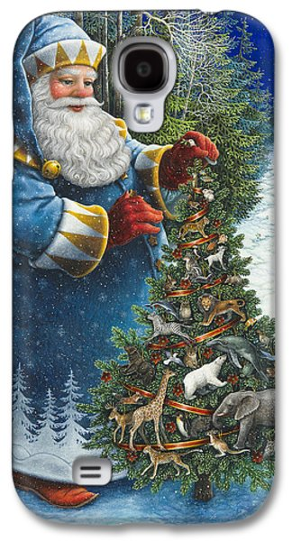 Santa Claus Paintings Galaxy S4 Cases - Santas Christmas Tree Galaxy S4 Case by Lynn Bywaters