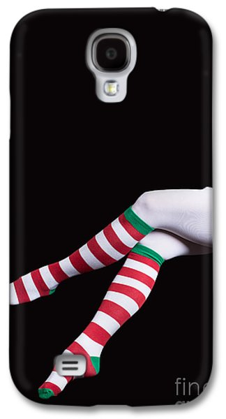 Elf Photographs Galaxy S4 Cases - Santas Helper Legs Christmas Card Galaxy S4 Case by Edward Fielding