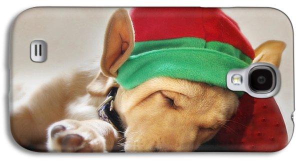 Puppies Digital Art Galaxy S4 Cases - Santas Helper Galaxy S4 Case by Lori Deiter