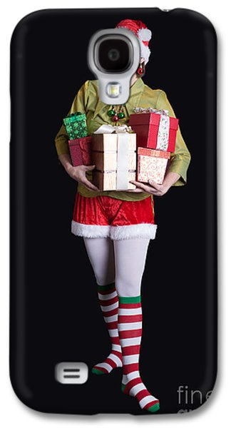 Santa's Helper Merry Christmas Elf Card Galaxy S4 Case by Edward Fielding