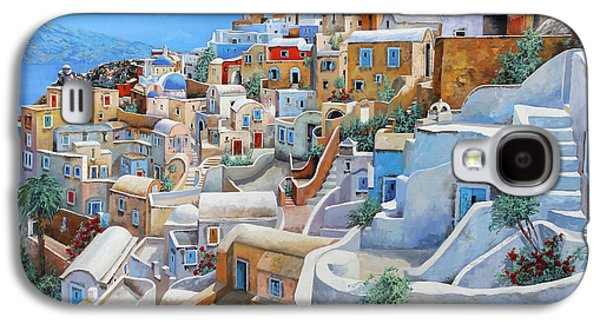 Guido Galaxy S4 Cases - Santorini A Colori Galaxy S4 Case by Guido Borelli