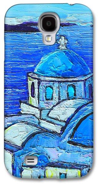 Greek Icon Paintings Galaxy S4 Cases - Santorini  Blue Galaxy S4 Case by Ana Maria Edulescu