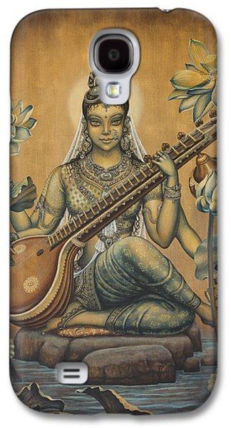 Goddess Paintings Galaxy S4 Cases - Sarasvati Shakti Galaxy S4 Case by Vrindavan Das