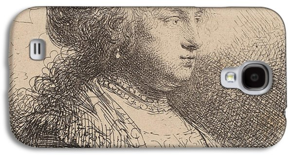 Busts Galaxy S4 Cases - Saskia with Pearls in Her Hair Galaxy S4 Case by Rembrandt