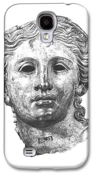 Statue Portrait Drawings Galaxy S4 Cases - Bronze Satala Head British Museum Galaxy S4 Case by Yana Wolanski
