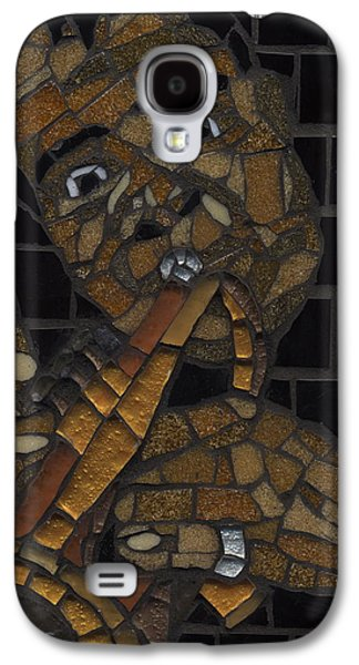 Music Glass Art Galaxy S4 Cases - Satchmo Galaxy S4 Case by Gila Rayberg