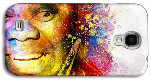 Smiling Mixed Media Galaxy S4 Cases - Satchmo Louis Armstrong Galaxy S4 Case by Shanina Conway