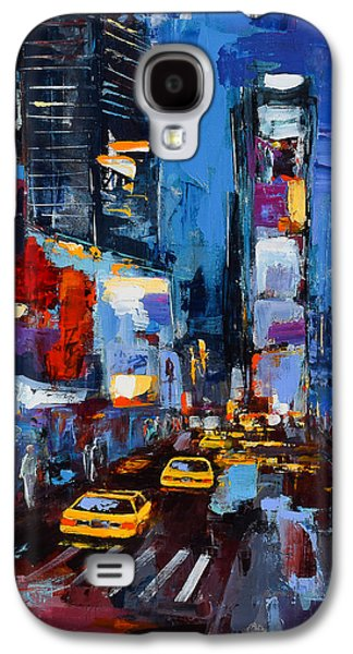 Business Paintings Galaxy S4 Cases - Saturday Night in Times Square Galaxy S4 Case by Elise Palmigiani