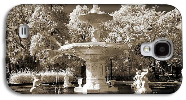 Garden Scene Galaxy S4 Cases - Savannah Georgia Fountain - Forsyth Fountain - Infrared Sepia Landscape Galaxy S4 Case by Kathy Fornal