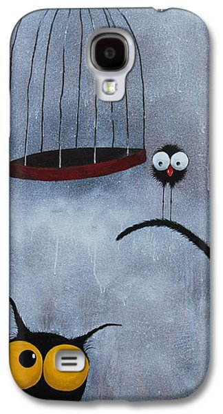 Cage Paintings Galaxy S4 Cases - Save the bird Galaxy S4 Case by Lucia Stewart