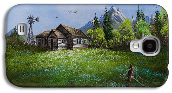 Recently Sold -  - Bob Ross Paintings Galaxy S4 Cases - Sawtooth Mountain Homestead Galaxy S4 Case by C Steele