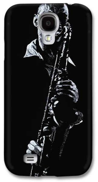 Music Pastels Galaxy S4 Cases - Sax Player Galaxy S4 Case by Richard Young