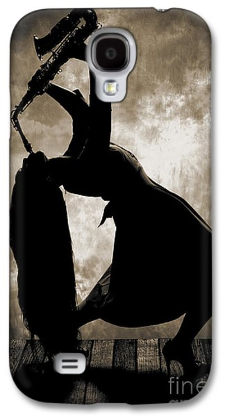 Saxophone Photographs Galaxy S4 Cases - Saxophone Girl in Silhouette in Sepia 3207.01 Galaxy S4 Case by M K  Miller