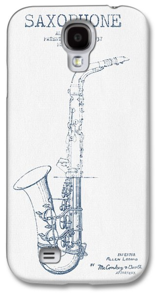 Saxophone Patent Drawing From 1937 - Blue Ink Galaxy S4 Case by Aged Pixel