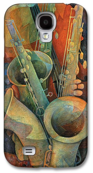 Galaxy Paintings Galaxy S4 Cases - Saxophones And Bass Galaxy S4 Case by Susanne Clark
